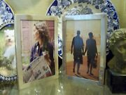 American Large Deco Sterling Diptych Double 5 X 7 Picture Photo Hinged Frame