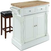 Oxford Butcher Block Top Kitchen Island In White Finish With 24 Black Upholst...