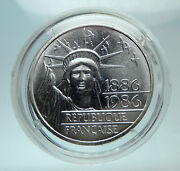 1986 France Gifts Statue Of Liberty To Us Huge Genuine Silver French Coin I80706