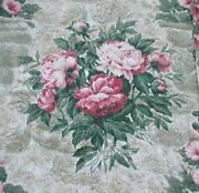 Mcm Vintage Peonies And Roses Textured Barkcloth Bark Cloth Fabric 6 Pieces