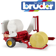Bruder Tractor Bale Wrapper And Okery And Black Round Bales Kids Farm Toy Model 116