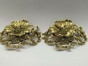 Lot Of 4 Sets Of Vintage Musi Art Nouveaux Shoe Clips-stunning Etched Scrollwork