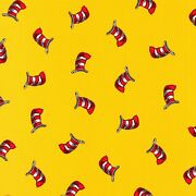 Cat In The Hat Celebrate Seuss Adventure Hats On Yellow Cotton Fabric