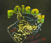Vintage Vtg 80s 1980s 1989 Poison And Tesla Cropped Tour Tee Band T Shirt