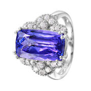 14kt White Gold 7.38ctw Tanzanite And Diamond Cocktail Ring Size 6.5 L1546