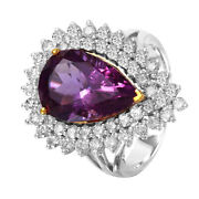 14kt Two Tone Gold Amethyst Diamond Cocktail Ring Size 7 L1528