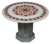 30 Marble Table Top Handmade Inlay Semi Precious Stones Art With Marble Stand