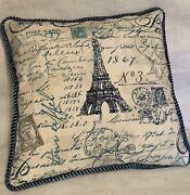 Farm House French Country Cottage Toile Blue Ivory Pillow Paris Hot Air Balloon