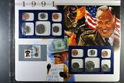 1991 Pandd Uncirculated Mint Set - Postal Commemorative Society - Coin And Stamp