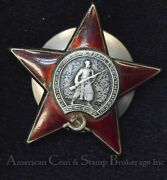 Russia Order Of The Red Star For Hero Ussr Medal Screw Back Badge Wwii Original
