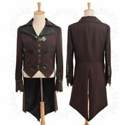 Mens Swallow-tailed Coat Victorian Steampunk Aviator Cosplay Costume Collared