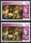 Cayman Is Sg221var 1968 Christmas 1/4d Bright Purple Gold Partially Omitted U/m