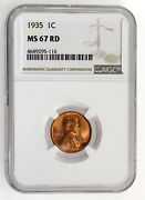 1935 1c Lincoln Wheat One Cent Ngc Ms67rd