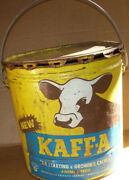 Vintage Kaffa Growing Calves Animal Feed 25lb Empty Metal Pail Container Cow