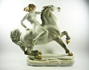 Herend, Nude Riding A Horse, Xxl Handpainted Porcelain Figurine P124