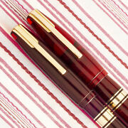 Vintage Waterman Hundred 100 Year Transparent Red Jewel Fountain Pen Pencil Set