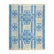 8and039x10and039 Blue Hand Knotted Pure Wool Peshawar With Berber Motifs Rug R52408