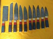 Custom Handmade Damascus Steel Chef Kitchen Knives Set With Leather Case