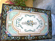 Marble Large Dining Table Top Malachite Inlay Stone Work Restaurant Decor H3913