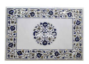 Marble Dining Table Top Lapis Lazuli Inlay Floral Arts Christmas Decor H3818