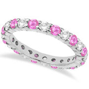 2.35ct Stackable Eternity Diamond And Pink Sapphire Ring Band 14k White Gold