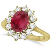 3.60ctw Princess Kate Oval Ruby And Diamond Statement Ring 14k Yellow Gold
