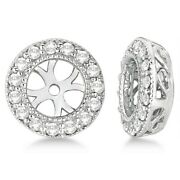 0.40ct Antique Inspired Vintage Round Cut Diamond Earring Jackets 14k White Gold