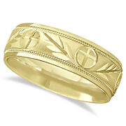 7mm Menand039s Carved Cross And Leaf Wedding Band In 14k Yellow Gold