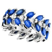 5.03ct Blue Marquise Sapphire And Diamond Fancy Eternity Ring 14k White Gold