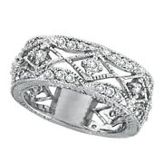 1.00ct Antique Style Round Cut Diamond Wide Band Filigree Ring In 14k White Gold