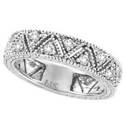 0.75ct Diamond Anniversary Wide Band Ring In 14k White Gold Milgrain Edge