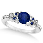 Preset Butterfly Blue Sapphire And Diamond Engagement Ring 14k White Gold 0.88ct