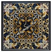 4and039x4and039 Marble Dining Table Top Pietra Dura Inlaid Work Christmas Eve Decors E499