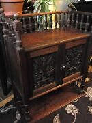 Antique Wooden Cabinet Carved Double Doors And Key Gallery Top Open Bottom