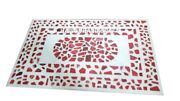 4and039x2and039 Carnelian Mosaic Marble Corner Table Top Rare Inlay Living Home Decor M329