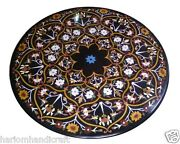 30 Black Marble Coffee Table Top Semi Marquetry Inlaid Christmas Decor H1585