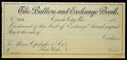 Obsolete Bank Check Bullion And Exchange Bank Carson City Cc Nv 1880s Blank