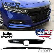 For 2018- 2020 Honda Accord Glossy Black Front Grill Molding Trim + Eyelid Cover