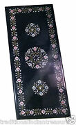 4and039x2and039 Black Marble Dining Table Top Inlay Stone Mosaic Floral Decor H932