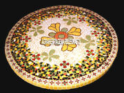 Marble Top Dining Table Floral Mosaic Rare Inlaid Hallway Occasional Decor H3813