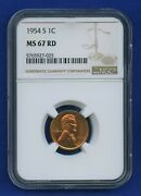 1954 S Ngc Ms67 Rd Lincoln Cent 1c 1954-s Wheat Penny Ngc Ms-67 Rd Wow Coin