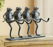 Aluminum Whimsical Rustic Folk Dancing Frogs Parade Statue 14l Shelf Decor