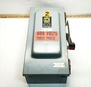 Square D 60 Amp Fusible Safety Switch 600 Vac 50 Hp 3 Phase Type 3r H362awk