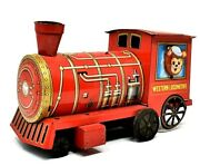 Rare Vintage Cragstan Tin Friction Powered Western Locomotive Works Great Wow