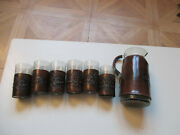 Vintage Crackle Glass Pitcher And 6 Glasses- 7 Pc Set Tooled Leather Sleeves Italy