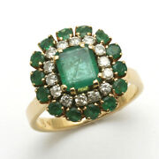 Vintage 18k Green Emerald And Diamond Cocktail Ring Square Yellow Gold Estate