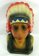 Old Chalkware Indian Chief Bank Beautifully Decorated Carnival Circus Prize Bank