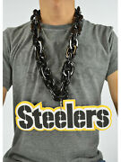 New Nfl Pittsburgh Steelers Black Fan Chain Necklace Foam Magnet Made In Usa