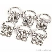 6 Stainless Steel 6mm Square Eye Plates W Ring 1/4 Marine 316 Ss Boat Rigging
