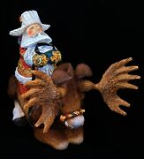 Santa On Moose Exclusive Hand Carved And Painted